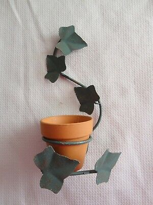 Home Interiors  11'' Green Metal Ivy & Clay Pot Wall Plant  Hanger '' SALE