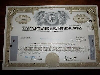 stock certificate The Great Atlantic & Pacific Tea Company A&P -circulated