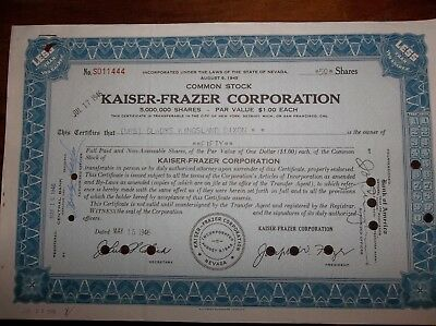cars automotive stock certificate Kaiser-Frazer Corporation - circulated