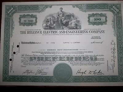 Old Stock Certificate The Reliance Electric And Engineerig Company -circulated-