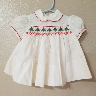 Vtg Baby Togs Christmas Trees Ivory Red Trim Smocked Dress 12 m Dead Stock 1980s