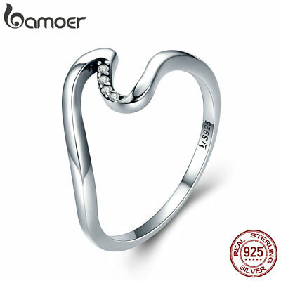 BAMOER Simple S925 Sterling Silver Finger Ring wave ring With Clear CZ Jewelry