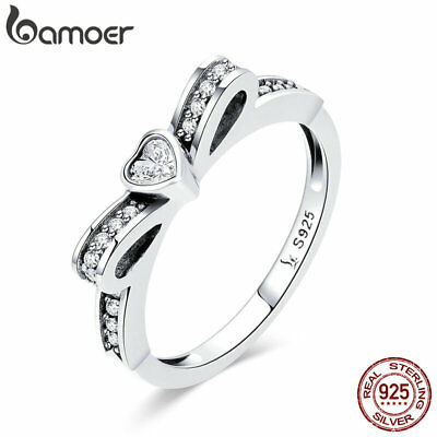 BAMOER S925 Sterling Silver ring Lovely Bowknot with Zircon for Women Jewelry