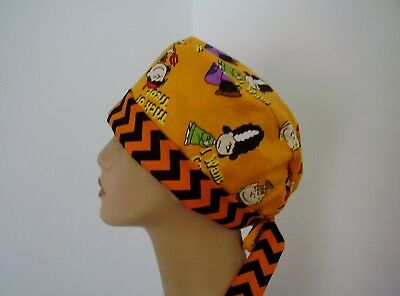 PIXIE- Scrub Hat/Chemo Cap - Halloween -  Charlie Brown Peanuts Gang - One size