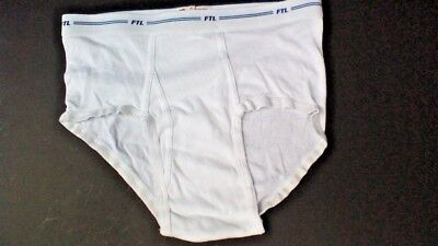 FTL - NOS VTG LATE 1990s MENS SIZE MEDIUM WHITE MID-RISE BRIEFS UNDERWEAR UNWORN