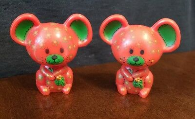Vintage Hallmark Merry Miniatures Christmas Red Mice Figurines
