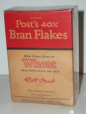 1930's POST'S 40% BRAN FLAKES CEREAL Sample Individual Size EMPTY Box Gen Foods