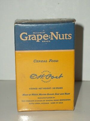 1930's Sample Size POST'S GRAPE=NUTS CEREAL FOOD Box General Foods Battle Creek