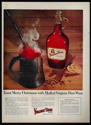 1954 Vintage Print Ad 50's VIRGINIA DARE wine mulled image merry christmas image