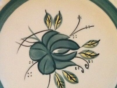 "Blue Ridge  "" TEAL ROSEANNA""  9"" Dinner Plate. White/Teal & Candlewick Edging"