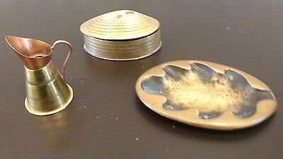 Lot of 3 Small Vintage Brass Items Plate Israel Shell Box Pitcher Japan