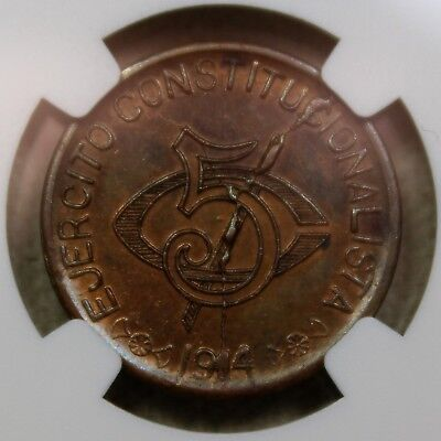 1914 Mexio Chihuahua 5 Centavos- Small Rosettes At Date- NGC MS61BN **RARE**