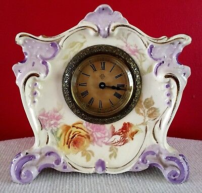Antique 19th Century ANSONIA New York USA CLOCK - German PORCELAIN with Roses