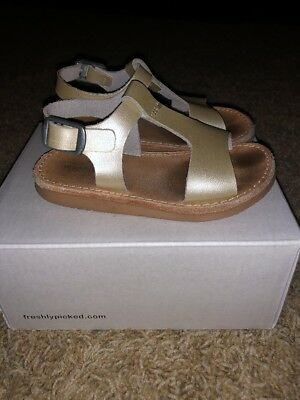 Freshly Picked Sandals Platinum Gold Silver 7 Toddler