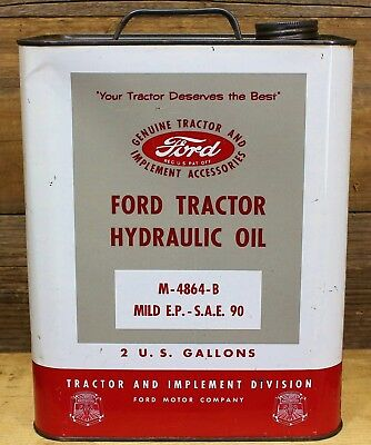 """Vintage FORD Tractor Hydraulic Oil 2 Gallon CAN """"Your Tractor Deserves the Best"""""""