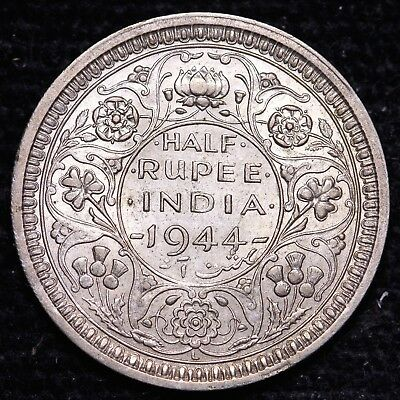 1944 British India 1/2 Half Rupee Silver Coin #4     FREE S/H To USA