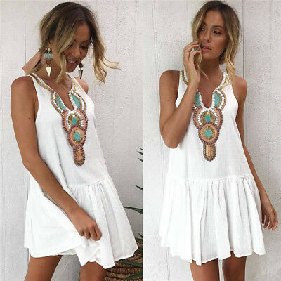 AU Women Summer Boho Casual Short Evening Party Cocktail Beach Dresses Sundress