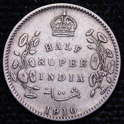 1910 British India 1/2 Half Rupee Silver Coin    FREE S/H To USA