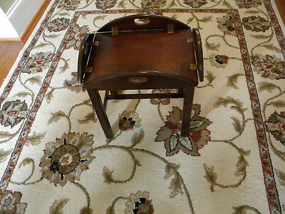 Caro-Craft Solid Walnut Butlers Tray Table Chair side. 18th Century Reprod