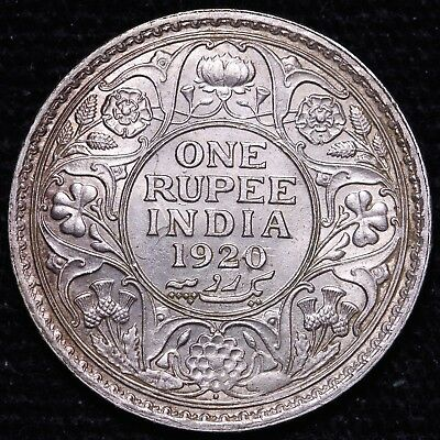 1920 British India 1 One Rupee Silver Coin - Die Clashes     FREE S/H To USA