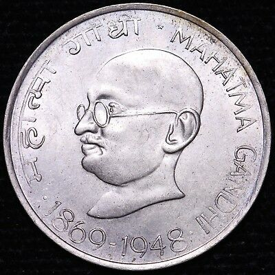 1969-1970 India 10 Rupees Gandhi Commem Silver Coin      FREE S/H To USA