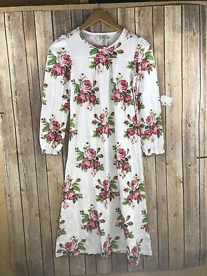 Mini Boden Nightgown 11-12 Years White Floral Pajamas Long Sleeve 100% Cotton