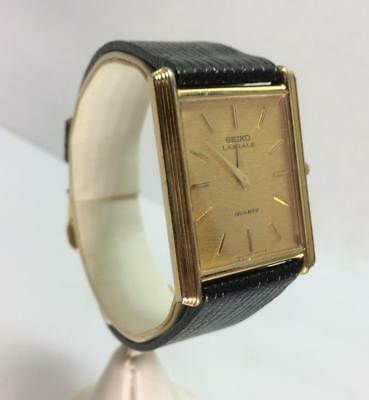 Vintage Seiko Mens Lassale 8 Jewel Gold Tone Quartz 1970's Running