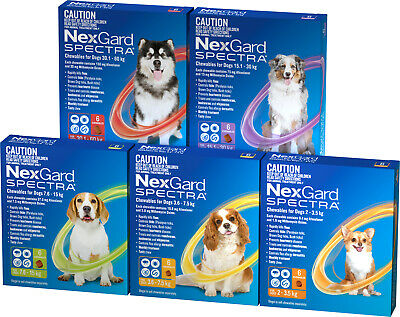 NexGuard Spectra For Dogs - Fleas Ticks Worms 6 Chews All Sizes