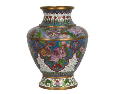 China 20. Jh. A Chinese Tapering Ovoid Cloisonne Enamel Vase / Jar  - Chinois