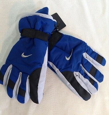 Nike Gloves Youth Blue Gray Boys Size 8-20 NWT Ski Lined Reinforced Palm
