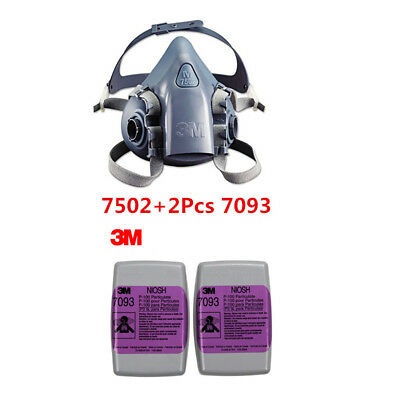 3M 7502 +7093 3Pcs Painting Spraying Reusable Respirator Half Face/Gas Mask