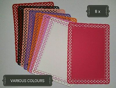 Lace Rectangle Nestable Paper Die Cuts x8 Scrapbooking Card Topper Embellishment