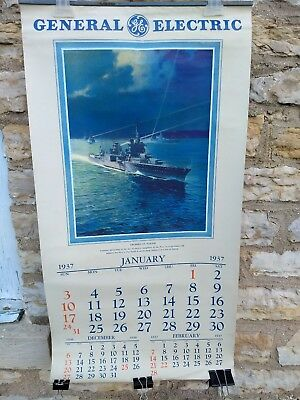 Vintage Large General Electric 1937 Calendar pre WWII with color illustrations.