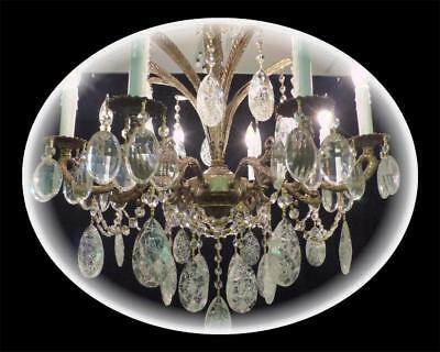 Vintage Large Solid Brass Chandelier Amazing Huge 3.5 Crystals Gorgeous Fixture!