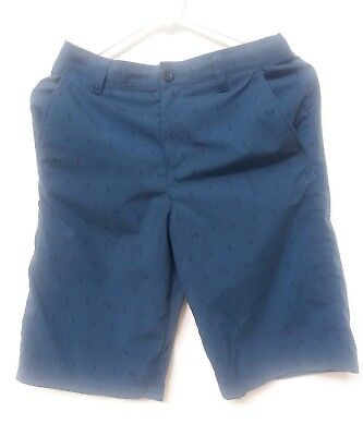 Under Armour UA Boys Youth Loose Adjustable Golf Shorts L Blue With Logo Design