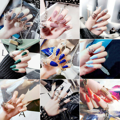 24Pcs Long False Nails Tips Solid Color Full Oval Stiletto Pointy Fake Nails