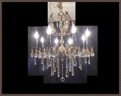 Vintage Solid Brass French Double Pineapple Chandelier Original Vintage Crystals