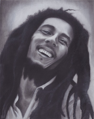 Bob Marley charcoal portrait drawing 11 x 14 in.