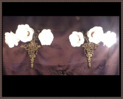 Pair (2) Vintage Antique French Brass Wall Sconces Art Glass Globes Shades wow!!