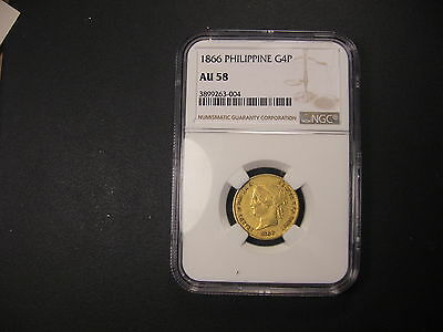 1866  NGC AU58 Philippines Gold 4 Pesos . RARE and FINEST KNOWN .