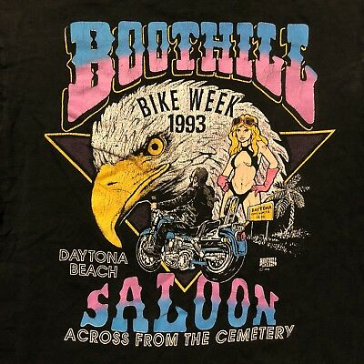 Vintage Motorcycle Shirt 1993 Boot Hill Saloon 90's Harley Indian Racing 80's 3D