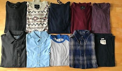 Lot of 10 Mens SMALL Long Sleeve,Thermal & Button Down Shirts: Abercrombie, Hawk