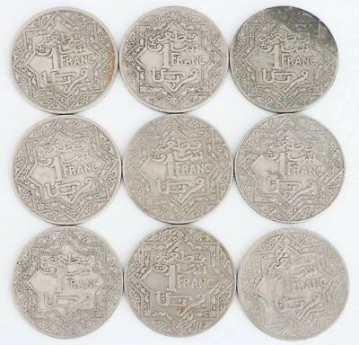 1 Franc Morocco Empire Cherifien 1921-1924 Coin Lot Of 9 Combined Shipping C69