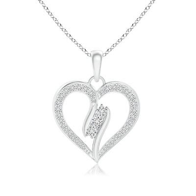 """Natural Diamond Swirl Heart Pendant Necklace 18"""" Chain Sterling Silver/Gold"""
