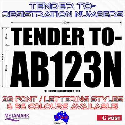 TENDER TO boat registration rego numbers letters lettering marine sticker decals