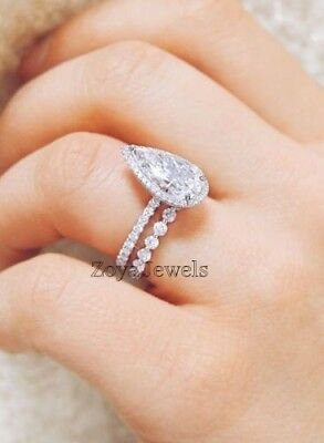 Certified 3.92Ct Pear White Diamond Engagement Wedding Ring in 14K White Gold