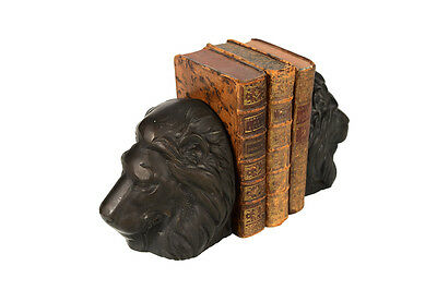 Pair of Bronze Lion Heads Bookends