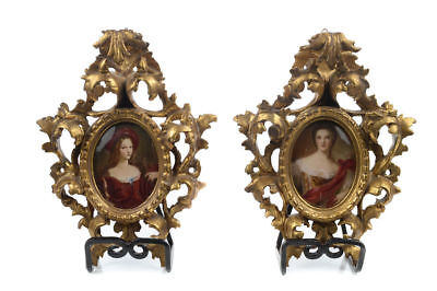 Fine French Miniature Paintings - Pair of Women Portraits-Signed