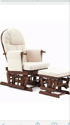 Mothercare Walnut Reclining Glide Chair And Footstool
