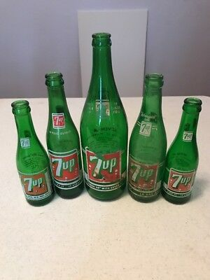 Vintage  Green Glass Soda Bottles
